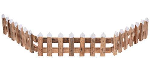 Spetebo Deko Holz Zaun 90x10 cm - Weihnachtsdeko Mini Gartenzaun Winter Gatter Minigarten