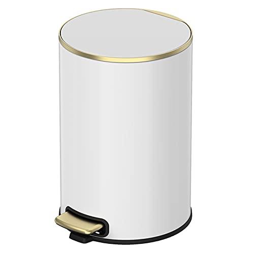 GYCC Bathroom rubbish bin with soft soft close WC rubbish bin Bathroom with a large inner bin(Color:white,Size:6L)