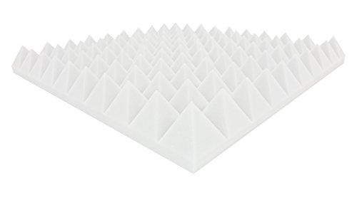 24 Stück Pyramiden-Schallabsorptionsplatten Akustische Korrektur etwa 50x50x6 cm • Weiß • Marke Dibapur