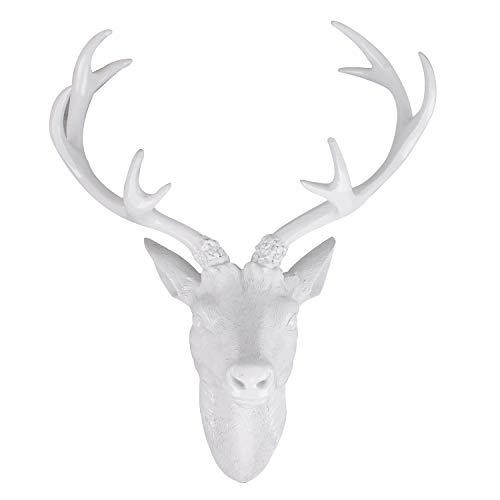 Mojawo Decorazione da parete con corna di cervo, testa di cervo, 10 estremità, colore: bianco, corna di cervo, 61 cm