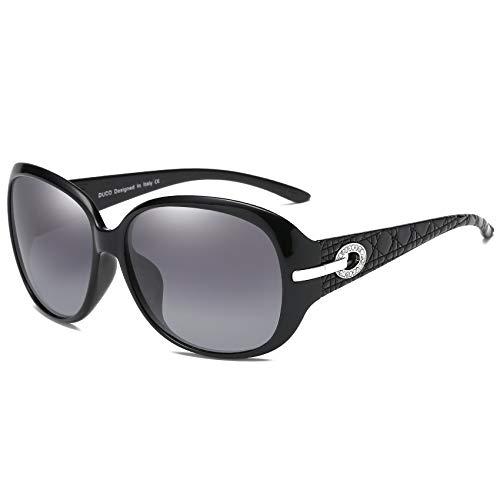 DUCO Klassische Damen Sonnenbrille Polarisiert Modische 100% UV-Schutz 6214 (Schwarz)