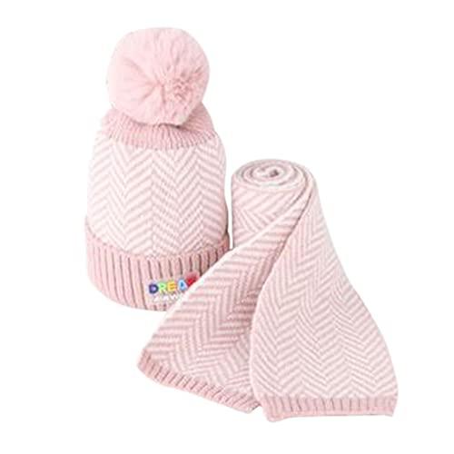iSunday (2 sombreros de bebé para invierno, sombrero de punto, para niños, otoño e invierno, lana cálida, otoño e invierno, gorro de lana para bebé, gorro de punto para niños (rosa)