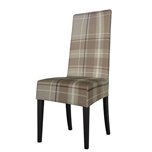Uliykon Funda elástica para silla de comedor, diseño de tartán de Caledonia Tan Tartan Spandex elástico extraíble y lavable, fundas para asiento de silla para comedor, hogar, cocina, hotel, ceremonia