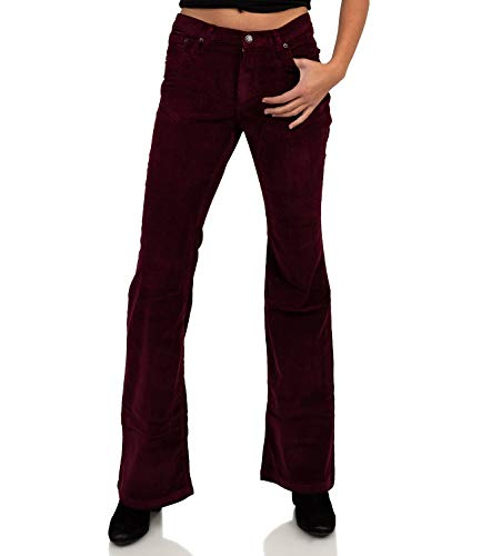 Slim Fit Stretch Cordhose weinrot Bootcut Schlag, Bordeaux Rot, 30W / 32L