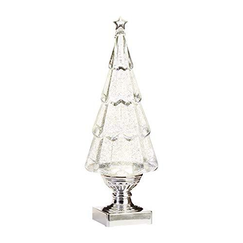 RAZ Imports 13.75' Lighted Tree Water Lantern Acrylic Snow Globe - Swirling Glitter Battery Operated