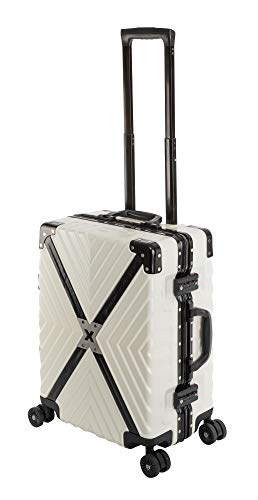 Travelhouse Miami T6055 - Trolley rigido in policarbonato e alluminio, disponibile in diverse misure e colori, Whitepearl Weiß (Bianco) - Miami X Cross T6055