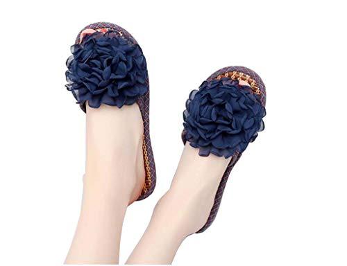 Vrouwen zomer slippers, thuis slippers ademend anti-transpirant deodorant beriberi onderdrukkingspoel vlas slippers slip schoenen sandalen UK3-6,Blue,EU39 UK6