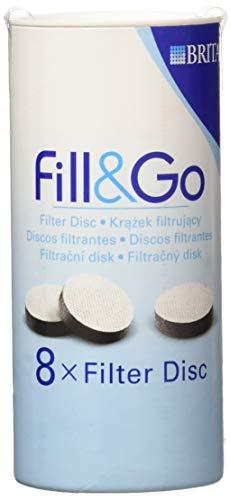 BRITA Fill & Go Ersatz-Wasserfilterscheiben, 8er-Pack (Passt nicht in Fill & Go Vital-Flaschen)