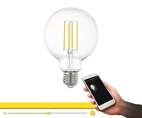 EGLO connect LED E27 Lampe, Smart Home Vintage Glühbirne klar, LED Globe 6 Watt (entspricht 60 Watt), 806 Lumen, E27 LED dimmbar, warmweiß, 2700 Kelvin, LED Leuchtmittel G95, Ø 9,5 cm