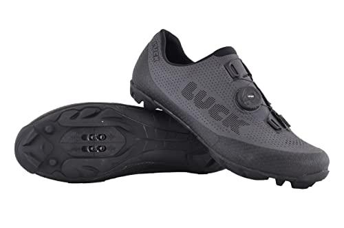 LUCK Avatar   Zapatillas MTB para Hombre y Mujer   Cierre Rotativo   Suela de Carbono   Calzado Bicicleta de Montaña (Gris, Numeric_45)
