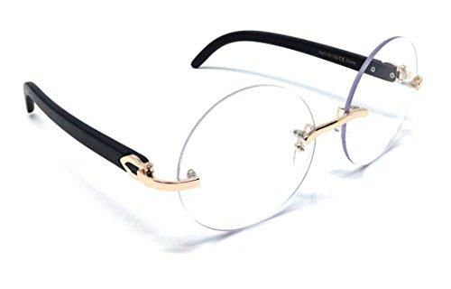 Diplomat Rimless Round Metal & Wood Eyeglasses/Clear Lens Sunglasses - Frames (Rose Gold & Black Wood Frame, Clear)