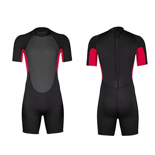 FR&RF Traje de neopreno corto de 3 mm de una pieza para hombre, de neopreno, de invierno, de buceo, de manga corta, para deportes acuáticos, color rojo, XXL