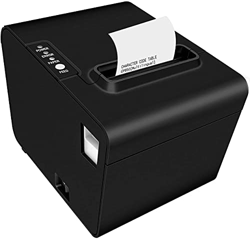 Milestone Thermal Receipt Printer,3'1/8 80mm POS Printer with Auto Cutter, Kitchen Printer for Restaurant with USB Serial Ethernet LAN ESC/POS Command Cash Drawer
