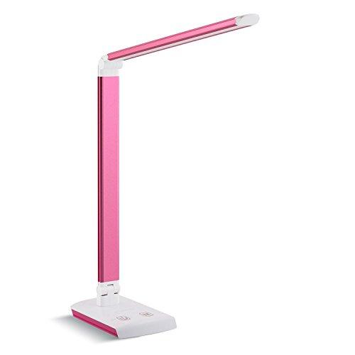 DECKEY 11W LED Schreibtischlampe Tischlampe dimmbare Tischlampe drehbare Bürolampe Leselampe Buchlampe Arbeitslampe 60LEDs (Rosarot)