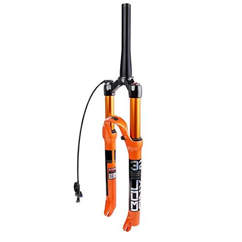 SJHFG Horquilla de Suspensión Bicicleta 26 27,5 29' Horquillas MTB con Bloqueo Manual/Corona Presión Aire de Suspensión MTB Eje 9mm para Accesorios de Bicicleta