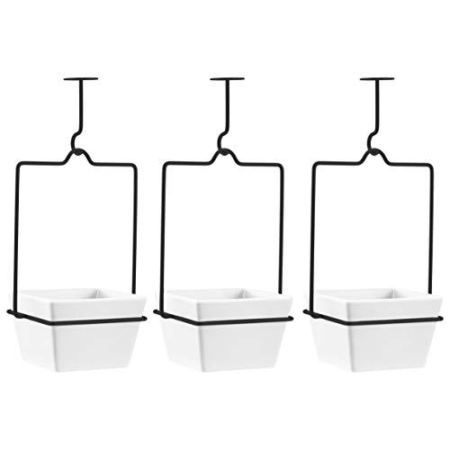 AmazonBasics - Portapiante a sospensione, quadrato, bianco/nero (confezione da 3)