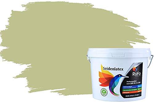 RyFo Colors Seidenlatex Trend Grüntöne Pistazie 3l - bunte Innenfarbe, weitere Grün Farbtöne und Größen erhältlich, Deckkraft Klasse 1