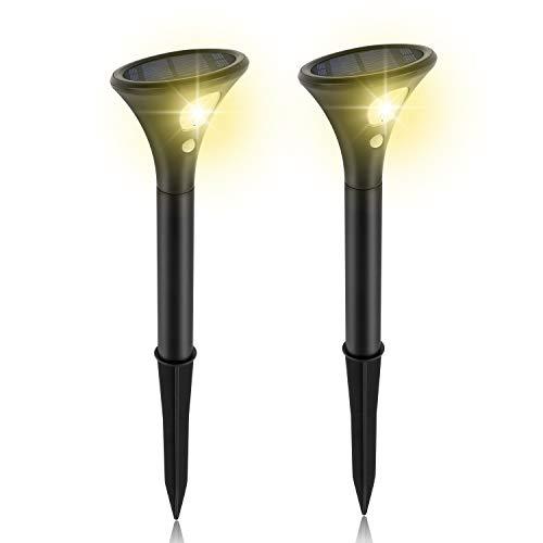 Wilktop Solarlampe Solarleuchten 2 Modi mit Bewegungsmelder Garten-Licht Solarlicht 2 Stücks Warmweiß IP65 Wasserdicht Auto ein/aus [Energieklasse A+]