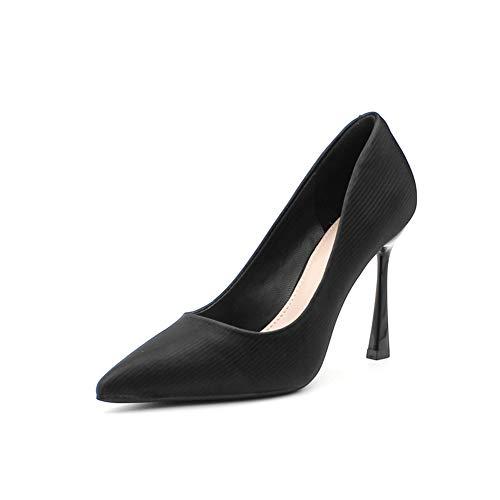 Boenxuan Zapatos de tacón Negro Resorte de Las señoras sólido Rayas Zapatos...