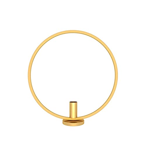 FGDSA Candle Holder Nordic Style Ring Shape Metal Iron Crafts Candlestick Table Ornaments Home Decor for Party W Dining,Gold