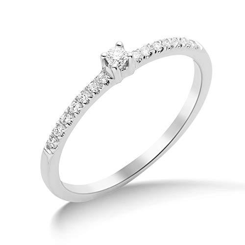 Miore Schmuck Damen 0.12 Ct Diamant Verlobungsring mit Diamanten Brillanten Ring aus Weißgold 18 Karat / 750 Gold
