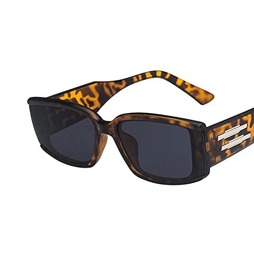 ShSnnwrl Gafas De Moda Gafas De Sol Gafas De Sol De Montura Pequeña Vintage Hombres Mujeres Moda Gafas De Sol Cuadradas Sombras Uv400 C2Leopard