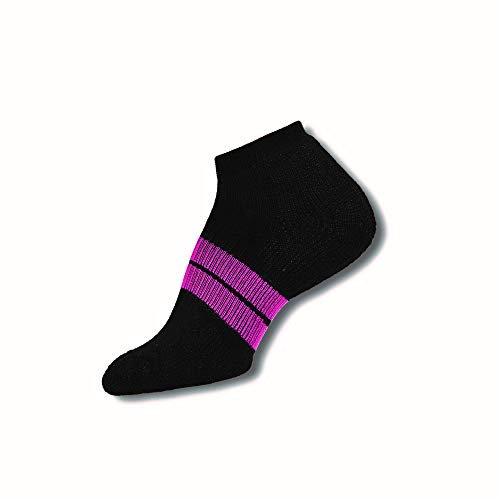 Thorlos Women's  84 N Running Thick Padded Low Cut Sock, Black, Medium
