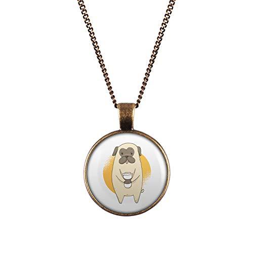 Mylery Hals-Kette mit Motiv Mops Hund Pug Süß Kaffee-Becher Bronze 28mm