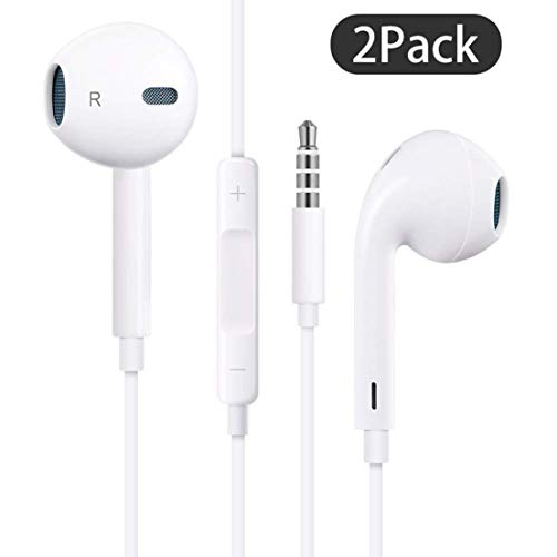 【2Pack】 for iPhone Earphone with 3.5mm Headphone Plug,Earphones Headset with Mic Call+Volume Control for iPhone 6 Earbuds Compatible with iPhone 6s/6plus/6/5s,Android,PC