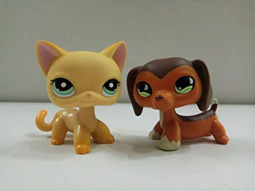 Pet Shop 2pcs Littlest Orange Shorthair Cat Brown Dachshund Dog Kid Toy LPS