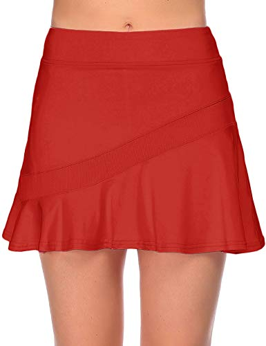Ekouaer Women's Fitness Skorts Pleated Cute Skirts with Pocket Solid Color Sports Shorts Workout Skirtr,Large Red