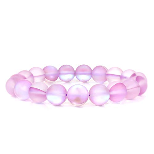 POMINA Frosted Iridescent Mystic Glass Bead Stretch Bracelet Holographic Mermaid Glass Bracelet Rainbow Aura Borealis Bead Bracelet for Women (Purple)