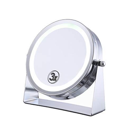 Miroir de maquillage double face rotatif à 360 degrés, 6 pouces avec éclairage à LED Miroir de maquillage, Silver