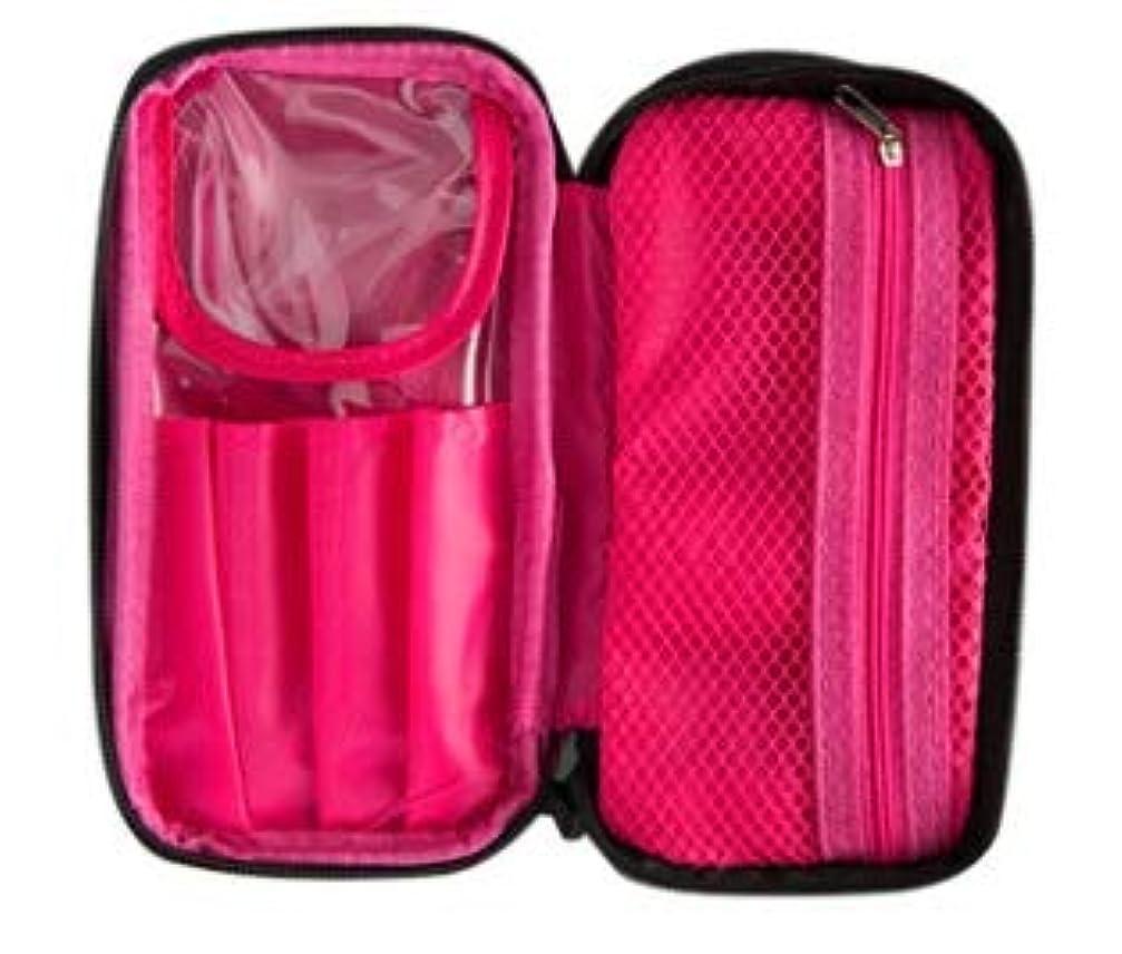 社会和リマーク化粧ポーチ メイクポーチ コスメポーチ メイク ポーチ コスメ ダブルファスナー 二層 ポケット 機能的 収納 ブラック/ピンク