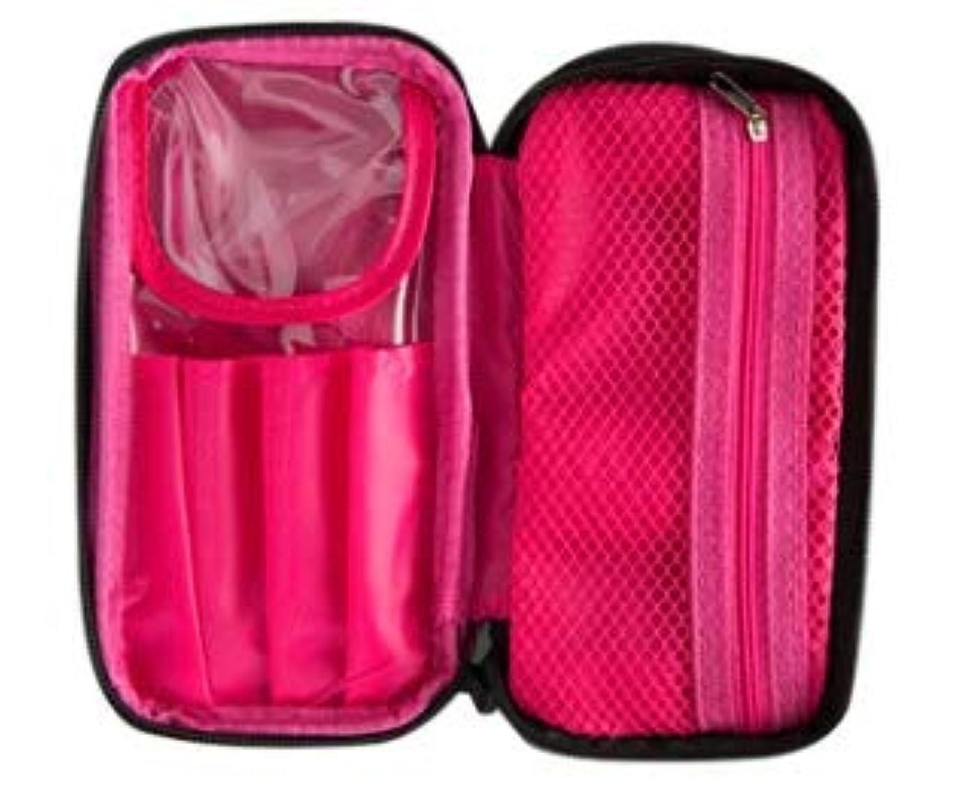 火山の商品部分的に化粧ポーチ メイクポーチ ポーチ 機能 機能的 メークポーチ 化粧 おしゃれポーチ メイク 収納 コスメ 黒 ピンク