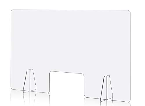 Sneeze Guard Plexiglass Shield Protection Barrier for Table Desk Counter Store (48' Wide x 30' Tall / 14' x 8' Cutout)