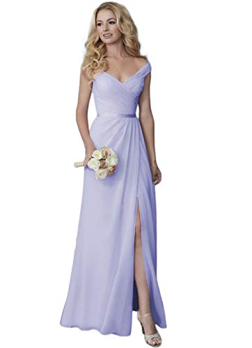 Cute Deep V-Neck Chiffon Long Bridesmaid Dress Evening Gown with Slit Off Shoulder Beach Formal Dress with Slit Lavender