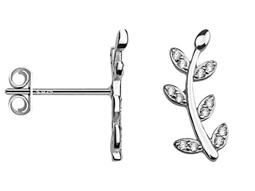 SOFIA MILANI - Damen Ohrringe 925 Silber - Ohrstecker als Blatt Zweig - 20201