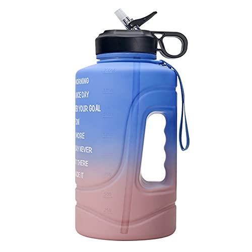 Wenxu Botella de agua de 2,2 litros, taza de agua deportiva degradada, taza espacial de gran capacidad con tiempos para beber, taza deportiva segura, duradera y reutilizable para fitness
