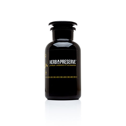 Herb Preserve Capacity Apothecary Jar Ultraviolet All Glass Refillable Stash, 1 oz. (500ml), Black