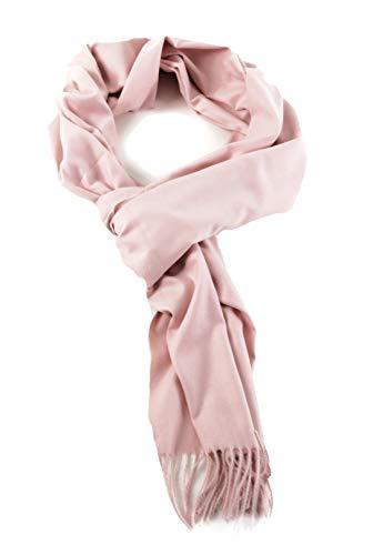 AMINA Einfarbiger Luxus Pashmina Damen Schal mit Cashmerefeeling superweich (Rosa)