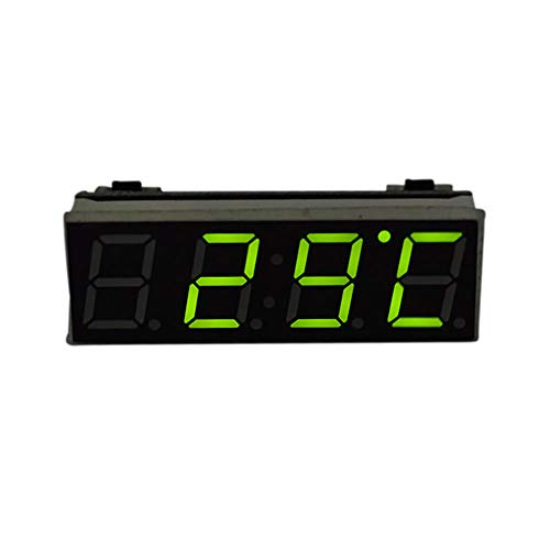 NXSP Elektrische klok voor auto, timer digitaal, LED, temperatuur reserveonderdelen, auto, thermometer, voltmeter, LED-display, groen, blauw, rood