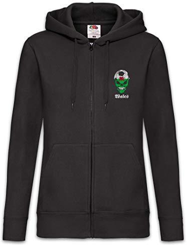 Urban Backwoods Black Classic Wales Football Soccer Skull Flag Sudadera con Capucha Y Cremallera para Mujer Zipper Hoodie Negro Talla S