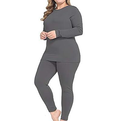 NUONITA Thermal Underwear for Women Long Johns Set Plus Size Fleece Lined Ultra Soft?16W, Dark Grey?