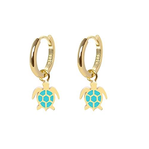 Pendientes de plata de ley 925 para mujer con margarita azul mariposa mariposa tortuga colgantes 2020 Trend Plata Ear Hoops Pendientes, Cristal, desconocido,