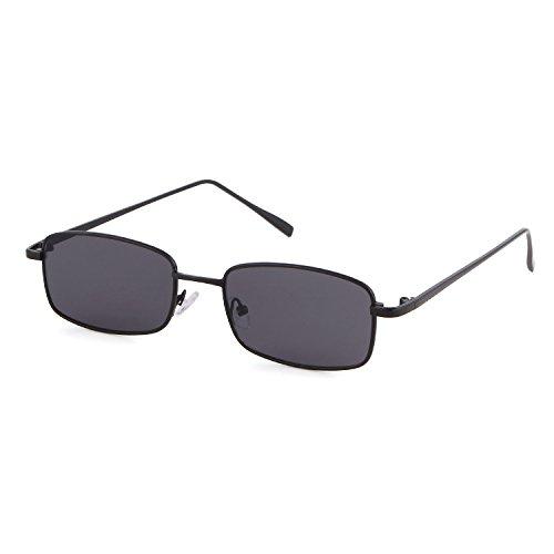 ADEWU Platz Sonnenbrille Mode Retro Brille für Damen Herren (Dunkelgrau Linse + Schwarz Rahmen)