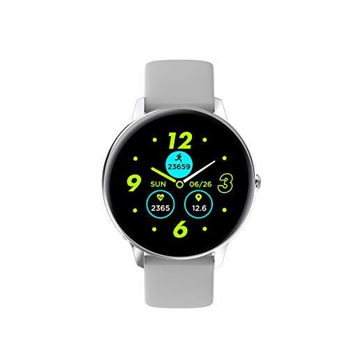 Phipuds Smartwatch, Reloj Inteligente Hombre Mujer Ip68 Impermeable con Pulsómetro Presión Arterial Monitor de Sueño, Pulsera Actividad Relojes Deportivos con Caloría Podómetro para Android iOS ,plata