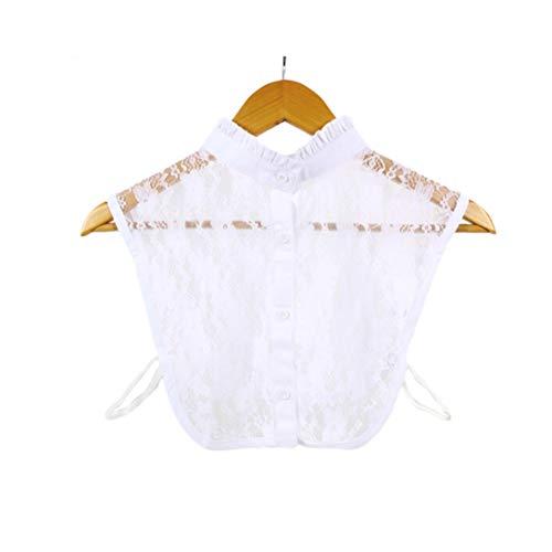 Colletto Bianco Finto, Mezza Camicetta Staccabile alla Moda con Camicetta di Dickey per Donna (Bianco)