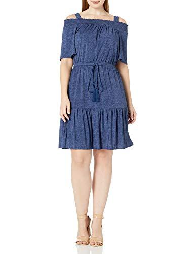 London Times – Vestido bluson para Mujer, Talla Grande, con Hombros Descubiertos, Mezclilla, 22W US