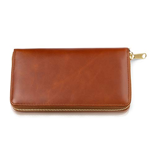 """New Item - Leather Travel Wallet for Women - Genuine Leather Clutch with Wristlet, RFID Blocking, Zippered Closure, Only 8"""" x 4"""""""